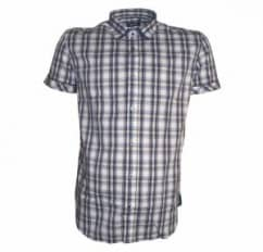 Antony Morato Blue Short Sleeved Checked Shirt
