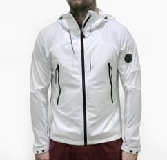 C.P Company CP Company White Hooded Lightweight Jacket With Arm Lens