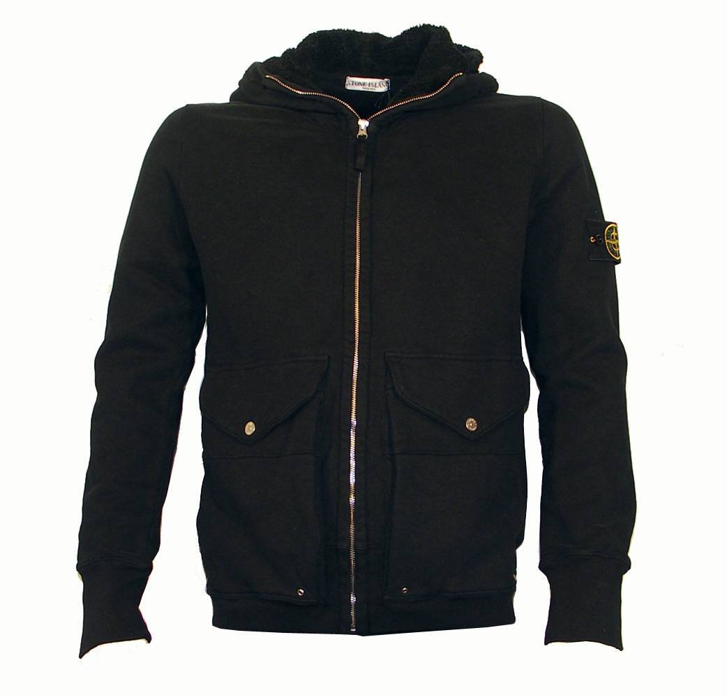 Stone Island Black Hooded Full Zipper Sweatshirt ...