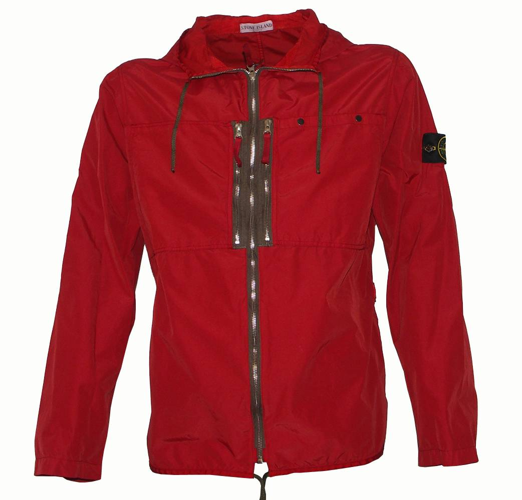 stone island red hooded jacket jackets from. Black Bedroom Furniture Sets. Home Design Ideas