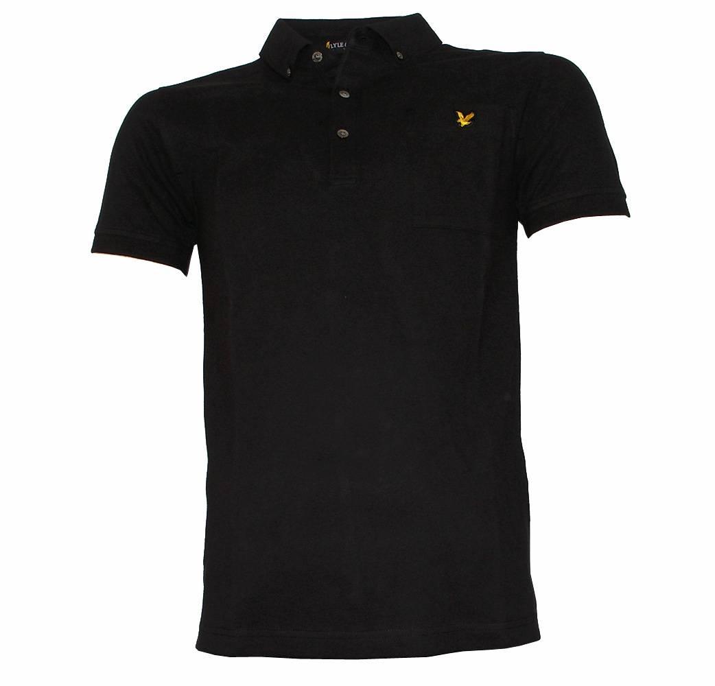 Lyle Scott Black Button Down Collar Polo Shirt Polo