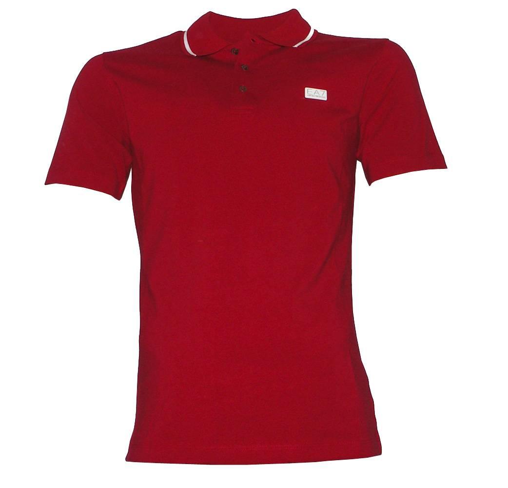 Emporio Armani Ea7 Red Tipped Collar Polo Shirt Polo