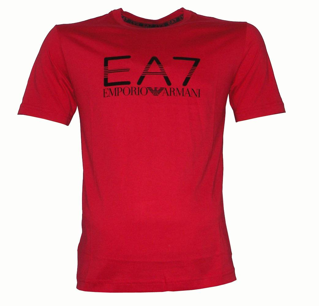 emporio armani ea7 red crewneck logo t shirt t shirts from designerwear2u uk. Black Bedroom Furniture Sets. Home Design Ideas