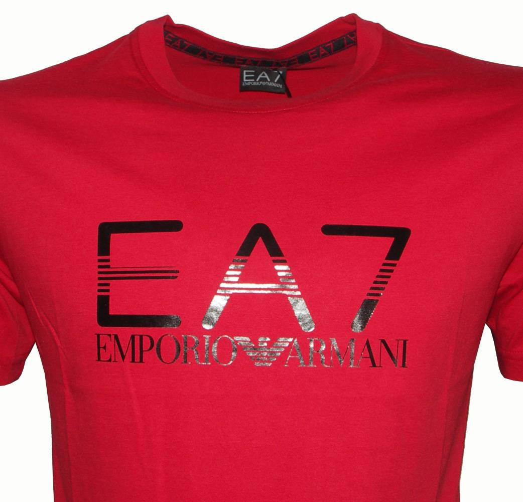emporio armani ea7 red crewneck logo t shirt t shirts. Black Bedroom Furniture Sets. Home Design Ideas