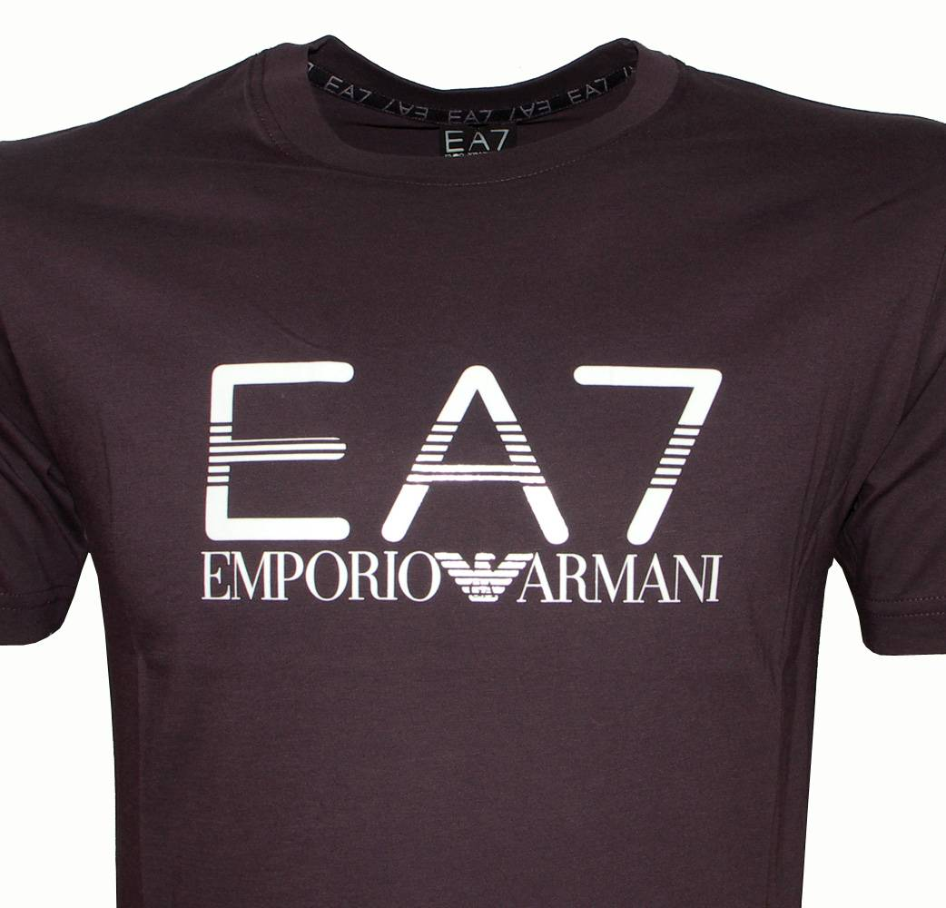 emporio armani ea7 purple crewneck logo t shirt t shirts. Black Bedroom Furniture Sets. Home Design Ideas
