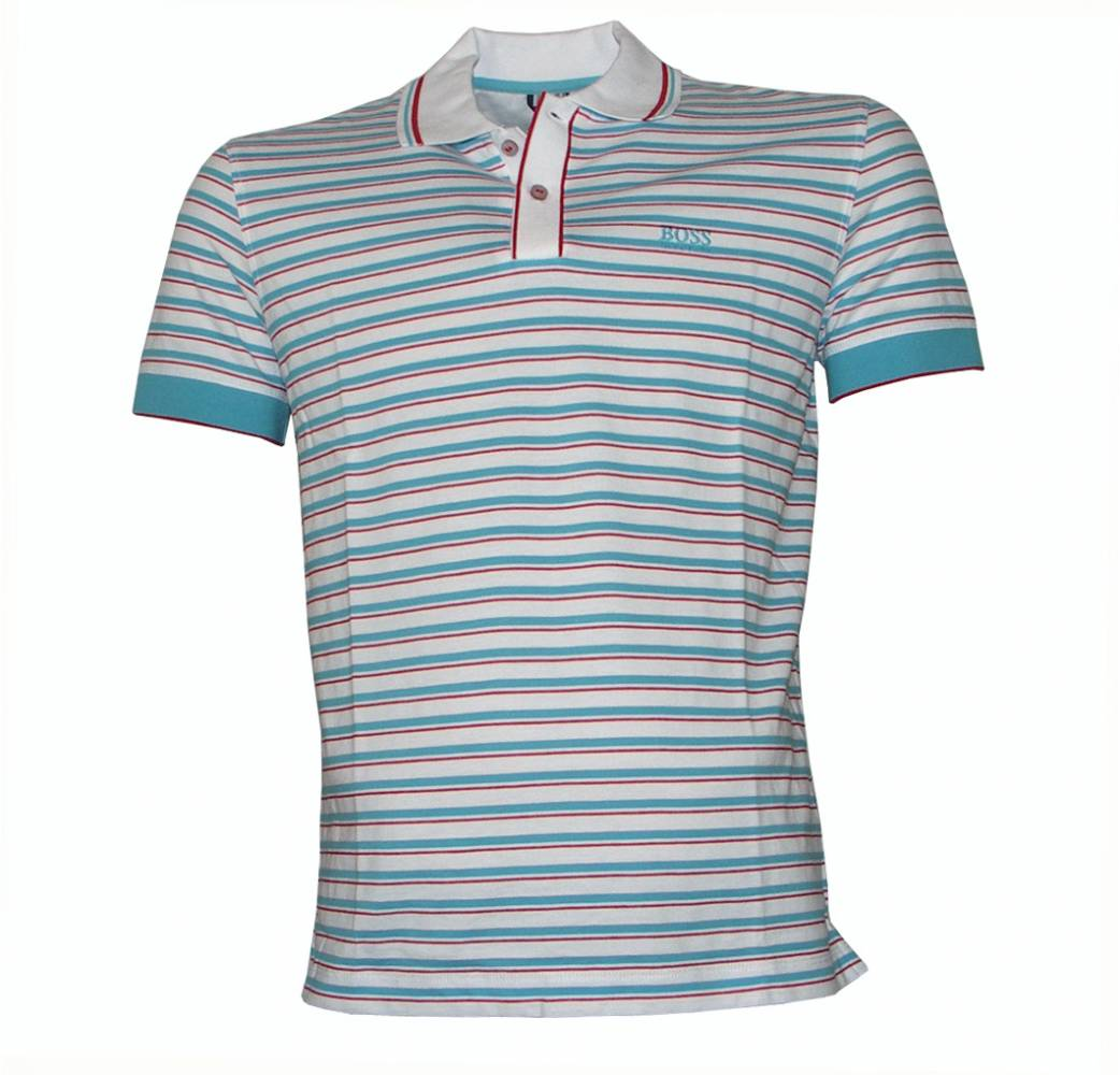 Hugo boss janis red and blue striped polo shirt polo for Red white striped polo shirt