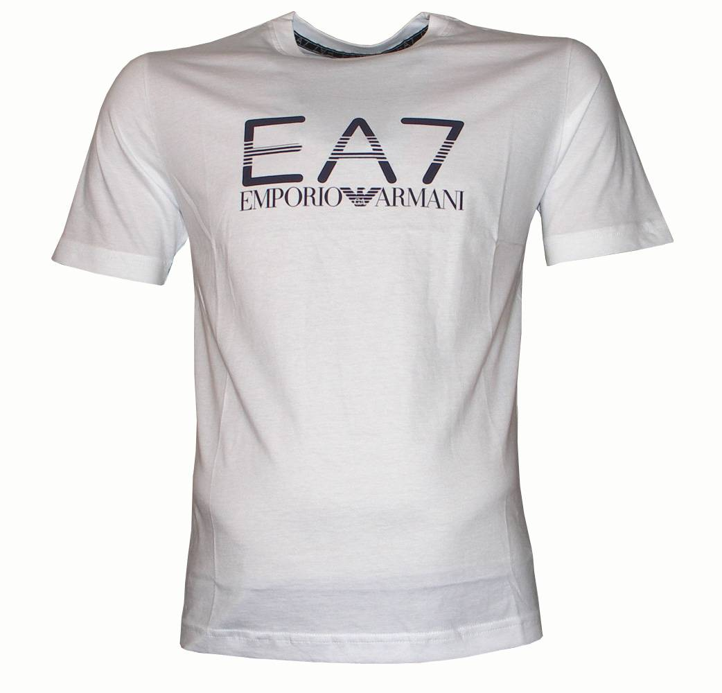 emporio armani ea7 white crewneck logo t shirt t shirts from designerwear2u uk. Black Bedroom Furniture Sets. Home Design Ideas