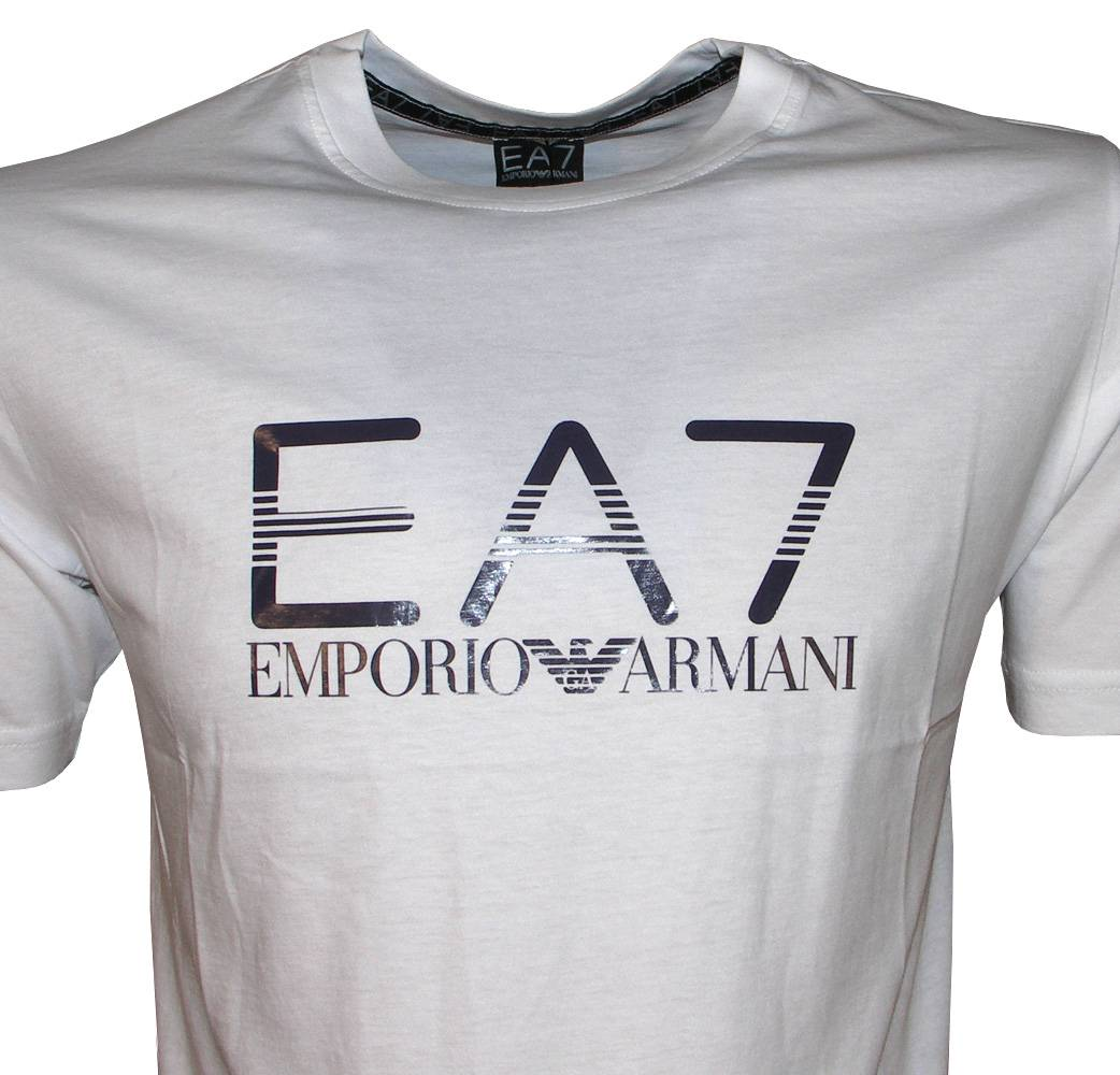 emporio armani ea7 white crewneck logo t shirt t shirts. Black Bedroom Furniture Sets. Home Design Ideas