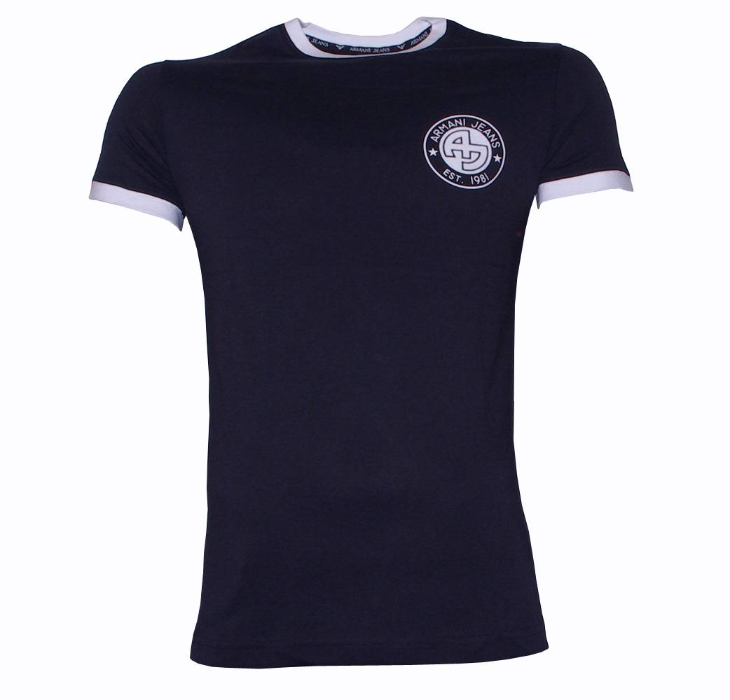 armani jeans navy slim fit t shirt t shirts from designerwear2u uk. Black Bedroom Furniture Sets. Home Design Ideas