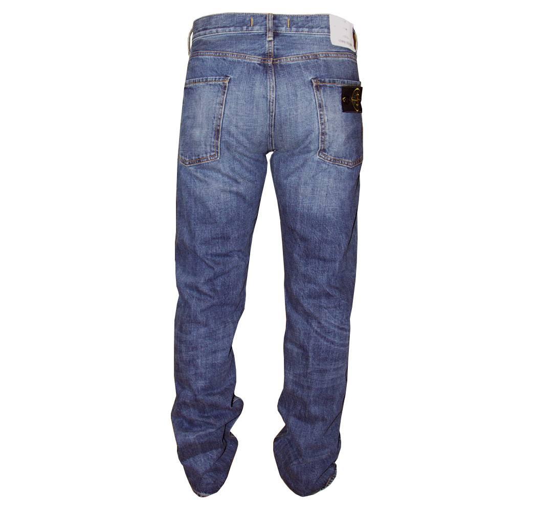 stone island blue vintage wash jeans with badge jeans. Black Bedroom Furniture Sets. Home Design Ideas