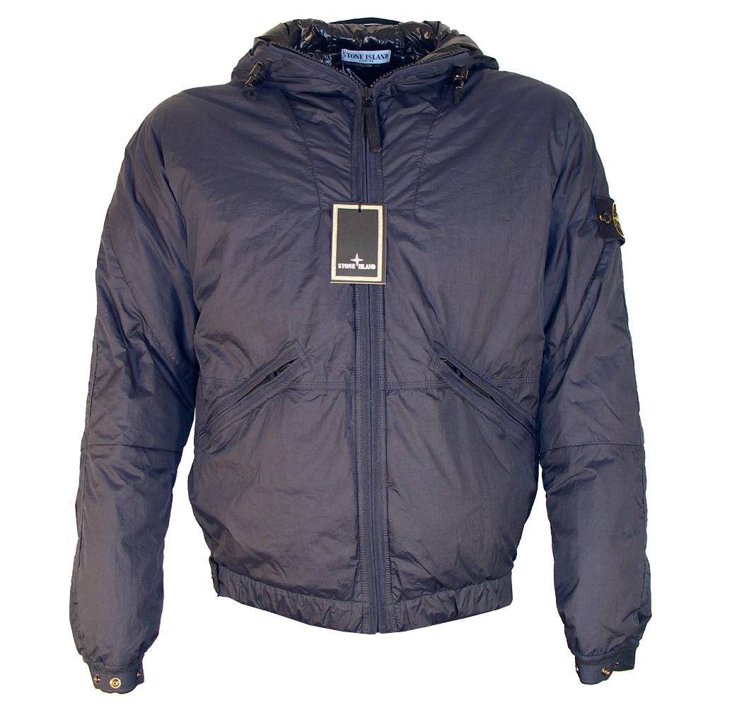 stone island navy hooded down jacket jackets from designerwear2u uk. Black Bedroom Furniture Sets. Home Design Ideas
