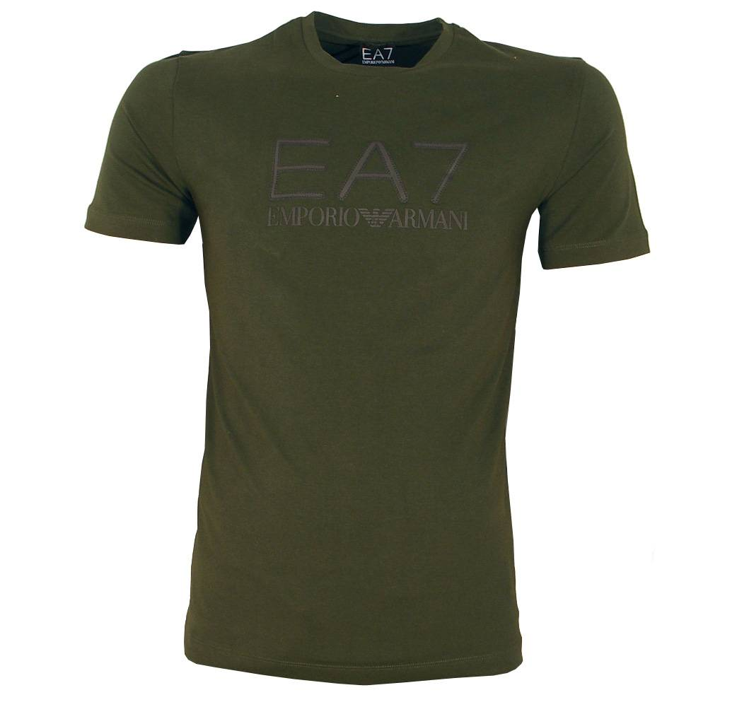 emporio armani ea7 green crewneck logo t shirt t shirts. Black Bedroom Furniture Sets. Home Design Ideas