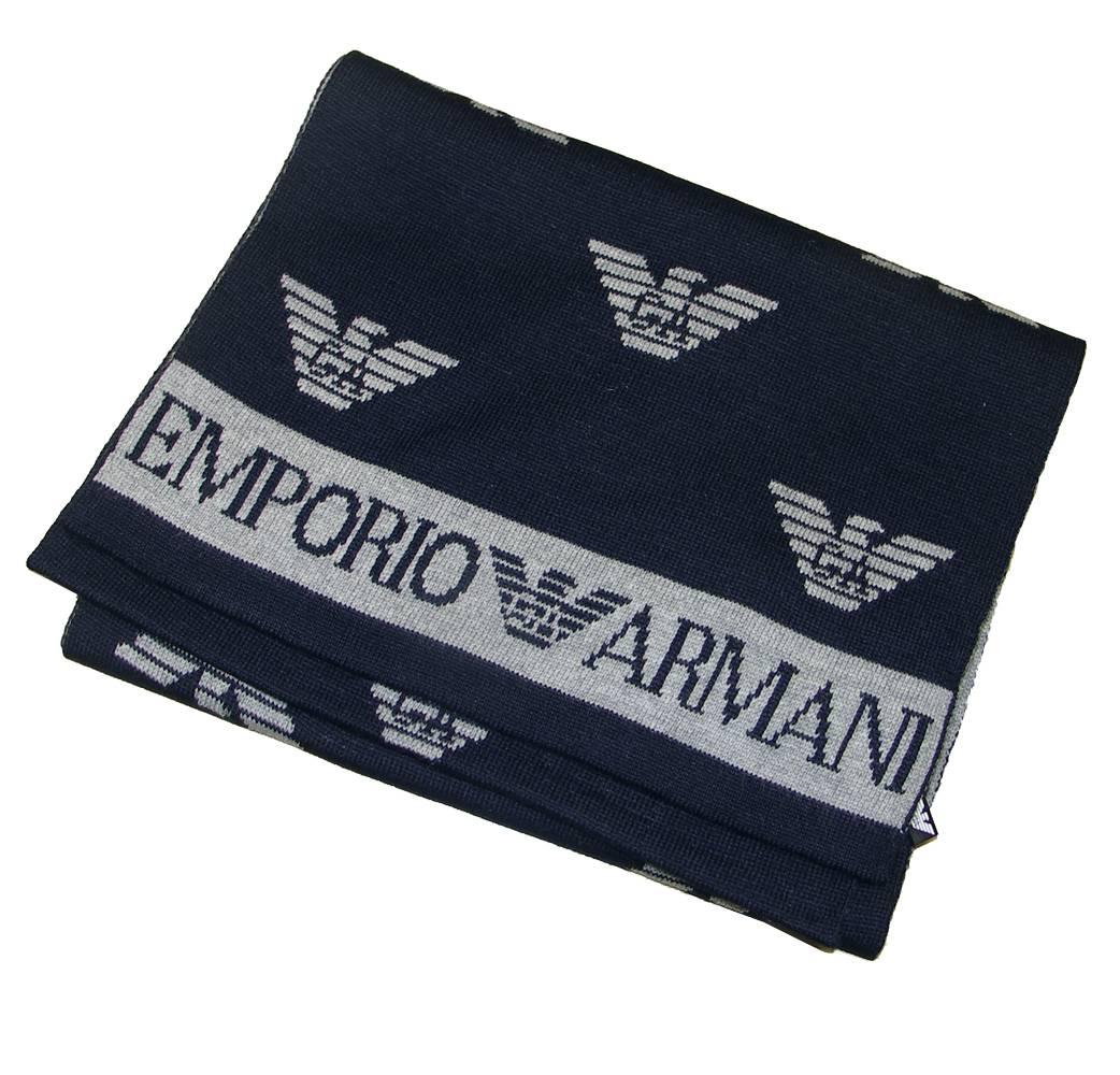 Emporio armani navy logo scarf gloves scarves from - Emporio giorgio armani logo ...