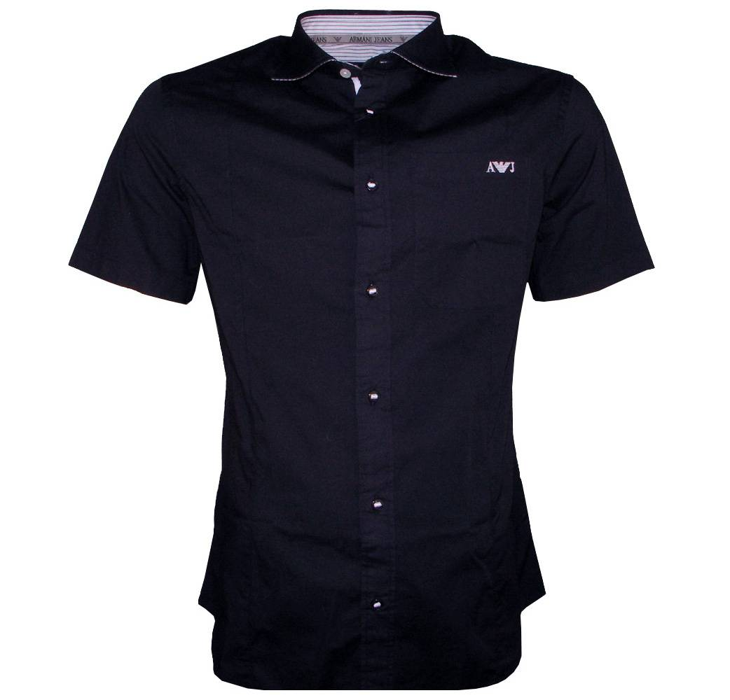 Armani Navy Short Sleeved Fitted Shirt Shirts From
