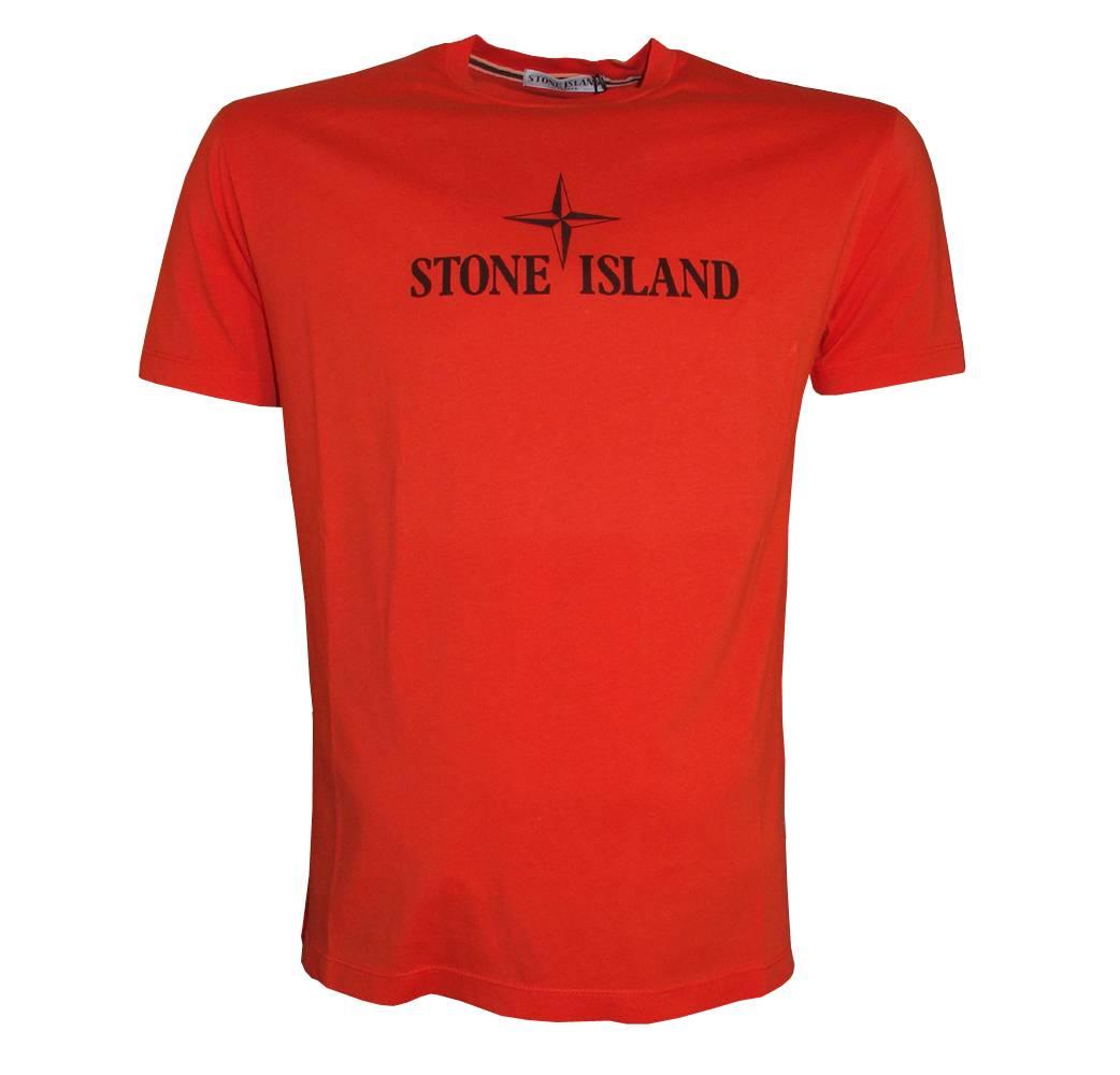 Stone Island Orange T Shirt With Large Printed Logo T