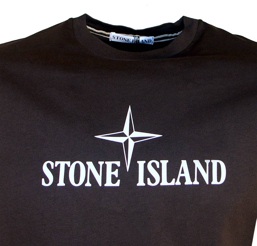 stone island navy t shirt with large printed logo t shirts from designerwear2u uk. Black Bedroom Furniture Sets. Home Design Ideas