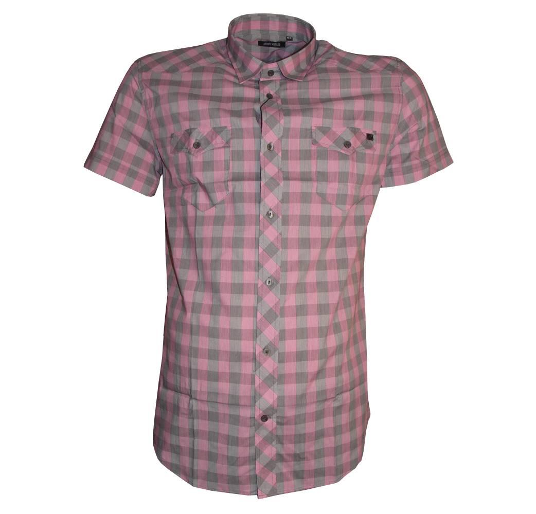 Antony Morato Pink Grey Checked Shirt Shirts From