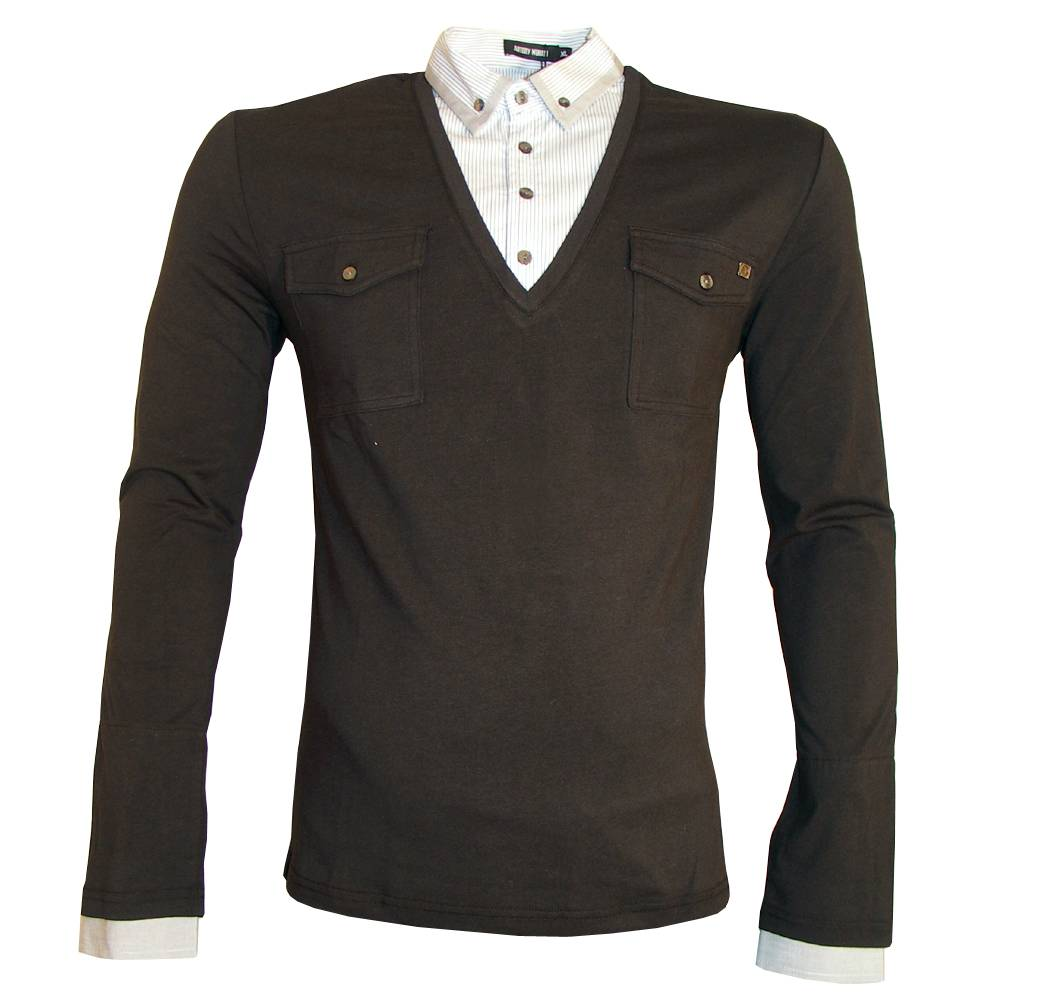 A polo shirt, also known as a golf shirt and tennis shirt, is a form of shirt with a collar, a placket with typically two or three buttons, and an optional pocket. All three terms may be used interchangeably.