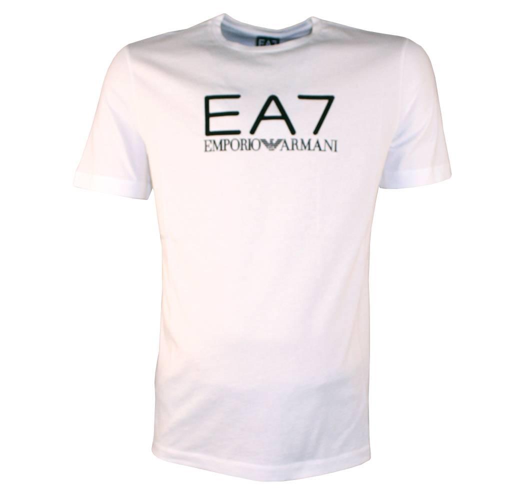 Emporio Armani Ea7 White T Shirt With Rubberised Logo T