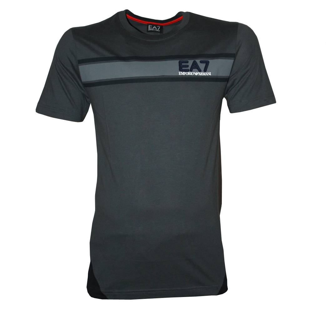Emporio Armani EA7 Grey T-shirt With Single Stripe