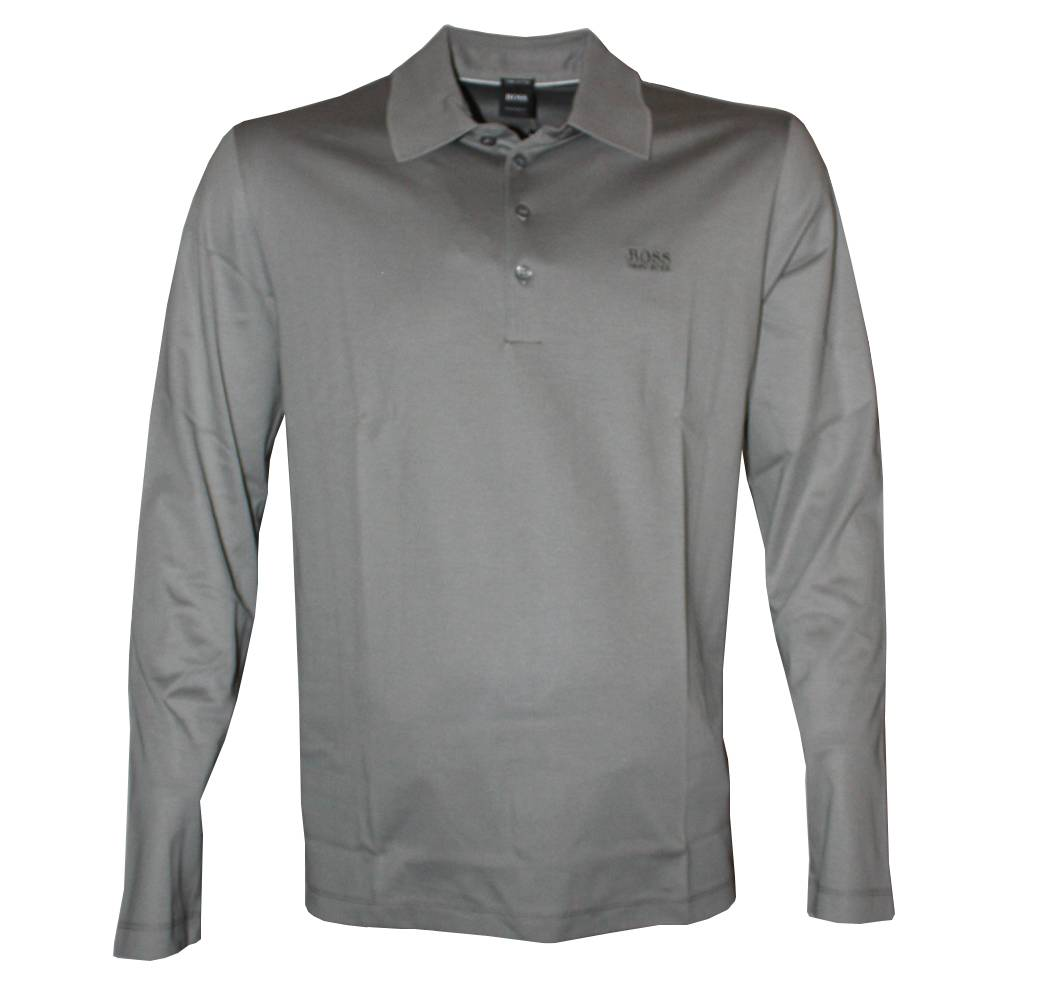 Hugo Boss Grey Paderna 01 Long Sleeved Polo Shirt Polo