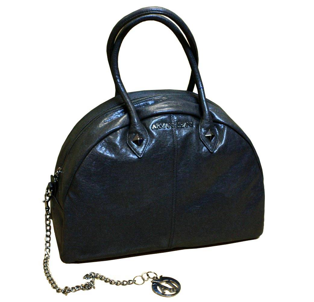 Armani Jeans Ladies Large Bowling Style Bag in Black Leather
