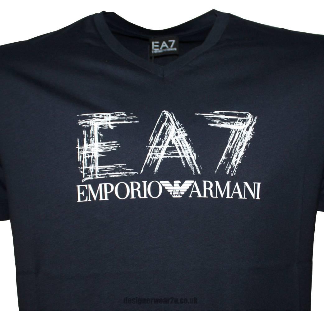 emporio armani ea7 navy v neck t shirt with large printed. Black Bedroom Furniture Sets. Home Design Ideas