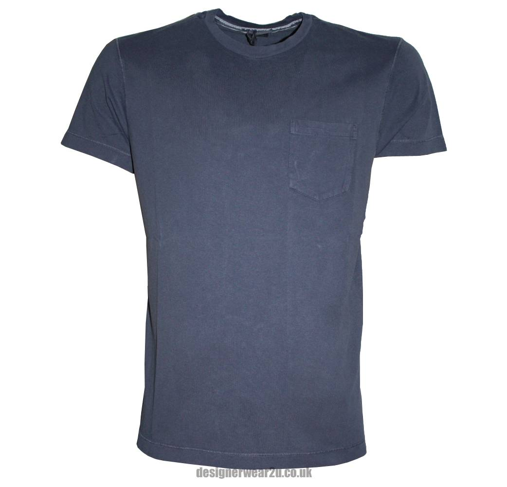 Cp company blue crewneck t shirt with arm logo t shirts for Company logo on shirts