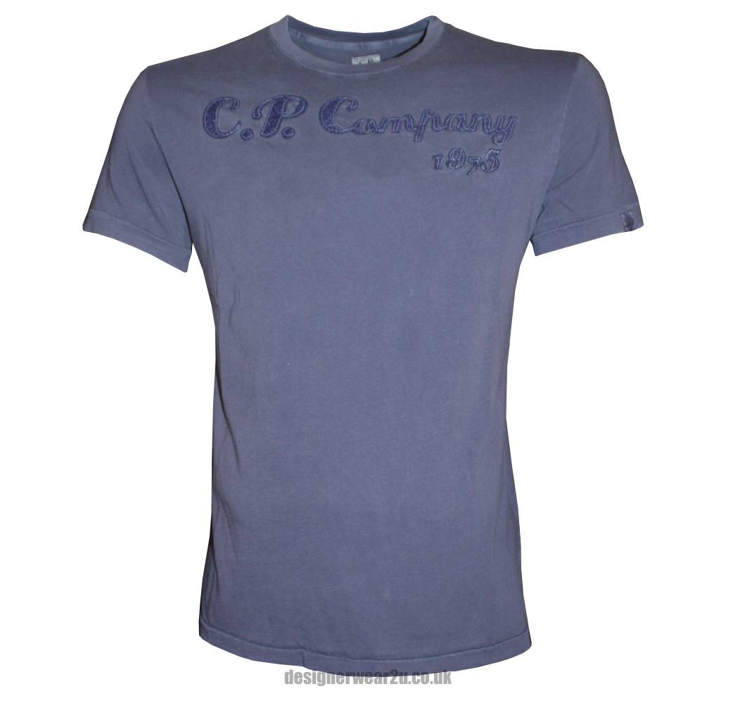Cp company blue large raised logo t shirt t shirts from for Company logo on shirts