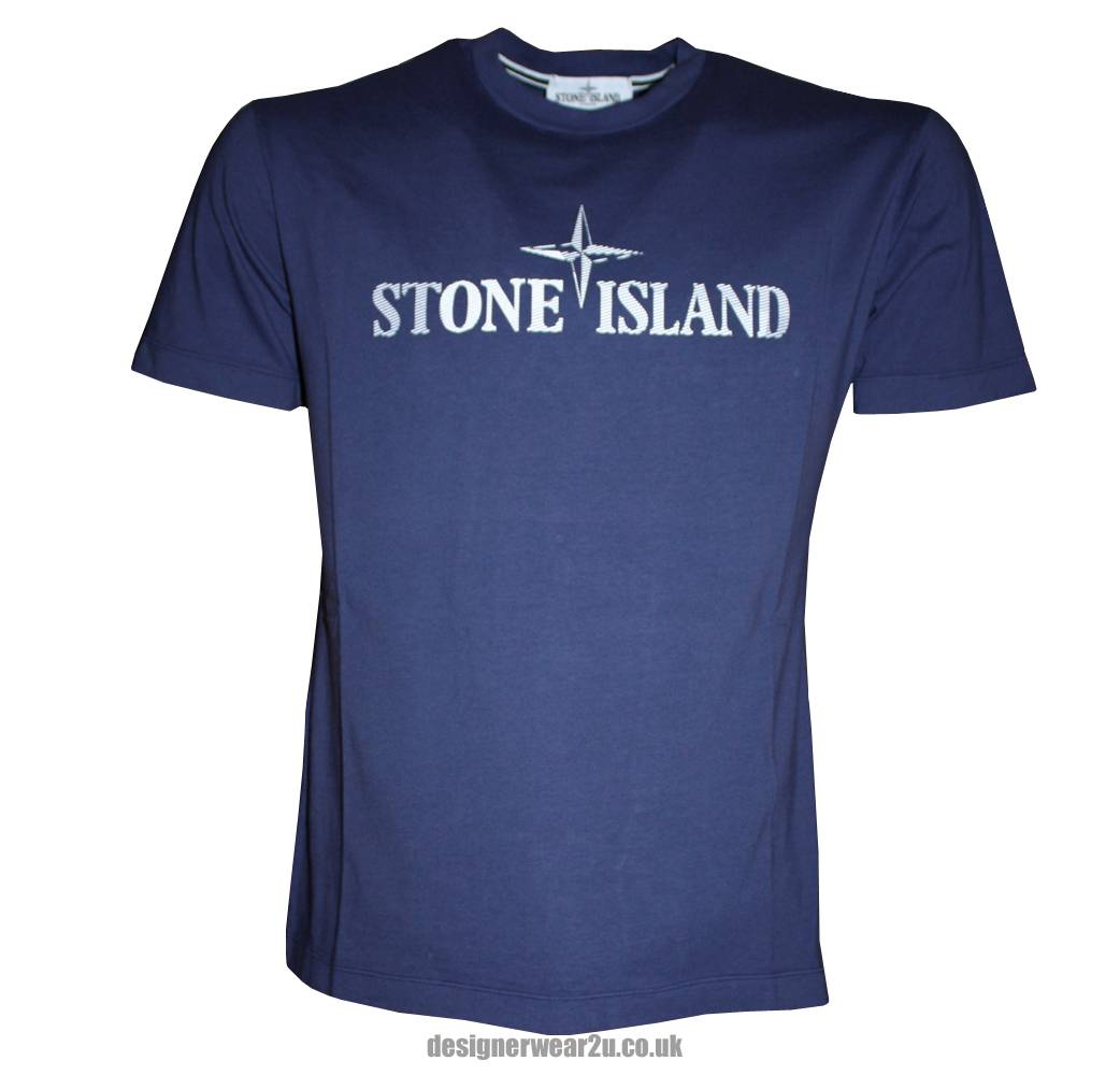 Stone Island Blue Crewneck T Shirt With Large Logo T