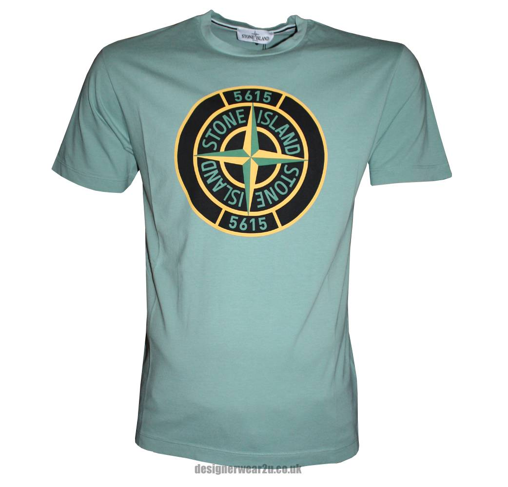 Stone island green t shirt with large compass printed logo for Logo printed t shirts