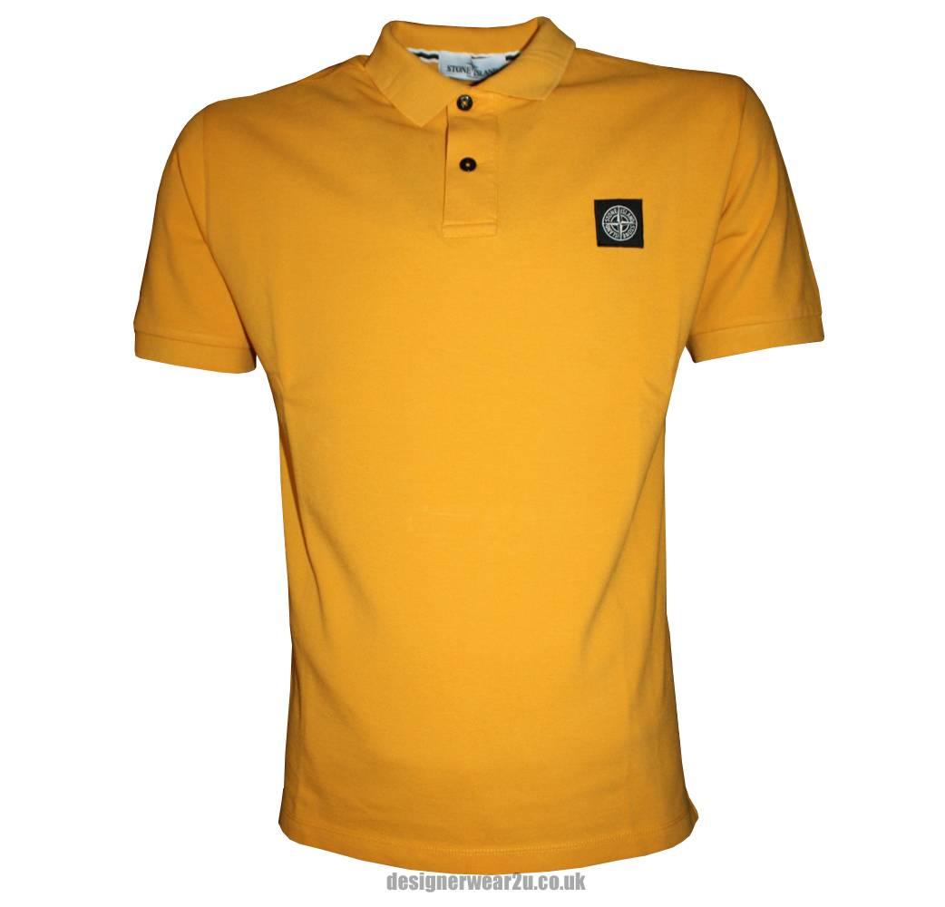 stone island yellow cotton pique polo shirt polo shirts from designerwear2u uk. Black Bedroom Furniture Sets. Home Design Ideas
