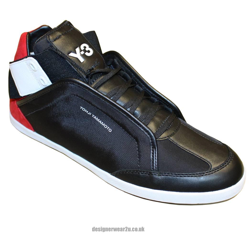 Y3 Black amp Red High Top Kazuhiri Trainers Footwear From
