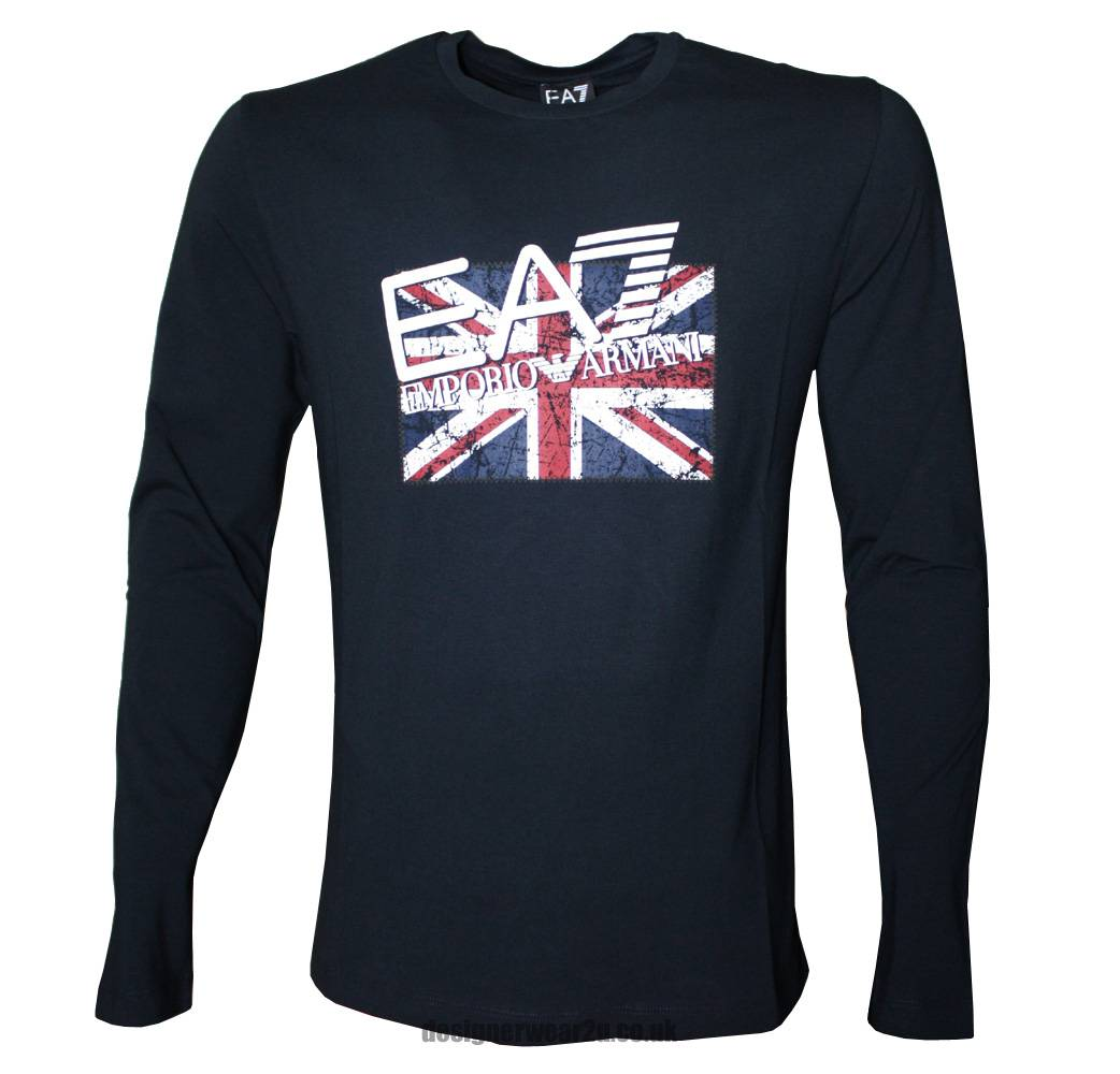 ea7 emporio armani long sleeved t shirt with union flag. Black Bedroom Furniture Sets. Home Design Ideas