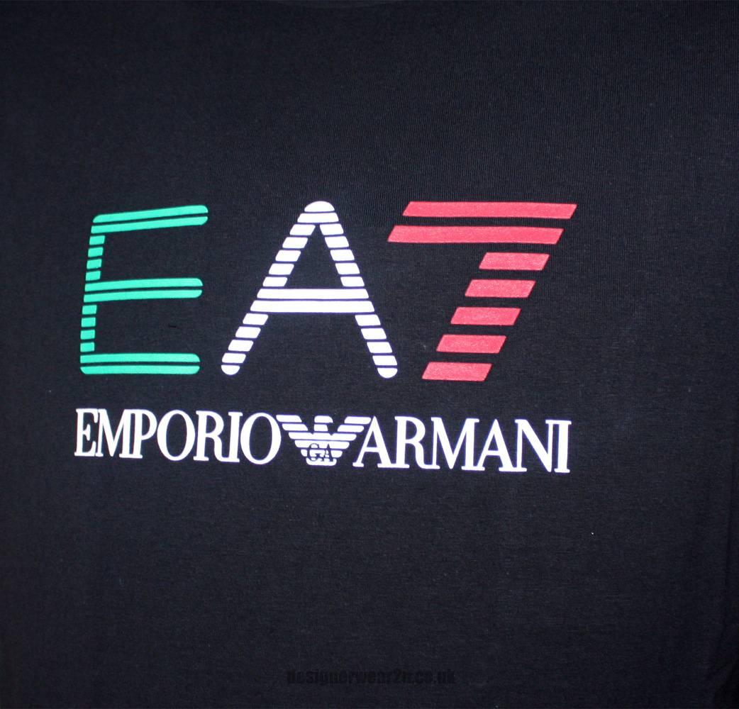 Ea7 emporio armani black t shirt with rubberised logo t - Emporio giorgio armani logo ...