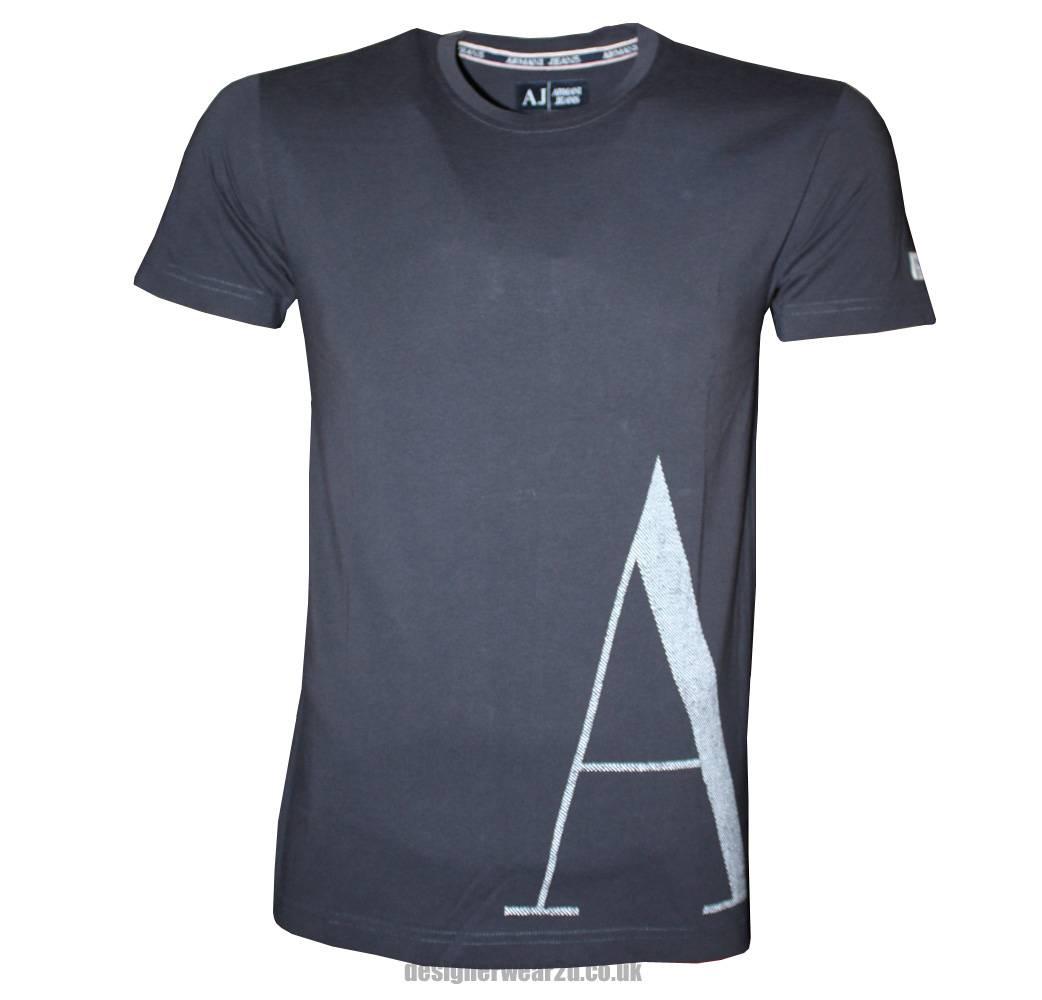 armani jeans navy crewneck t shirt with large aj logo t shirts from designerwear2u uk. Black Bedroom Furniture Sets. Home Design Ideas