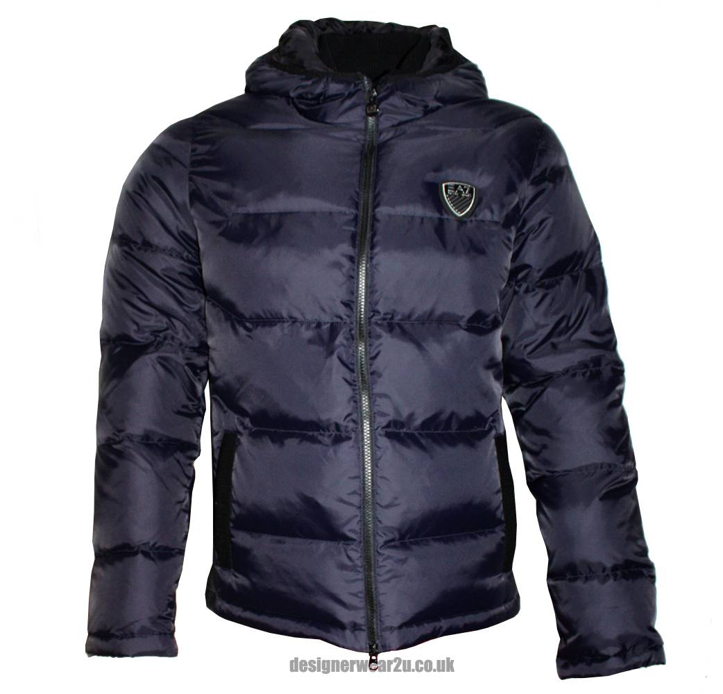 Home jackets emporio armani ea7 navy hooded down jacket