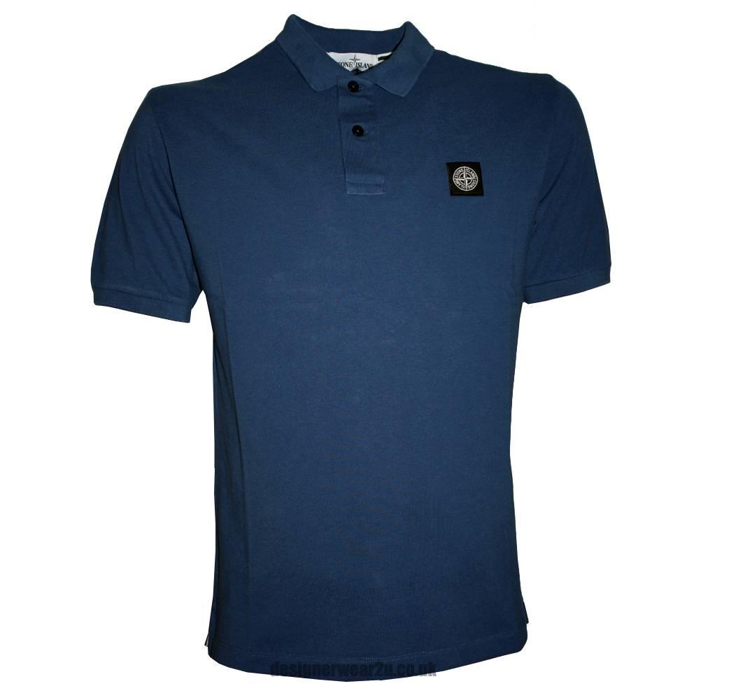 stone island blue cotton pique polo shirt polo shirts from designerwear2u uk. Black Bedroom Furniture Sets. Home Design Ideas