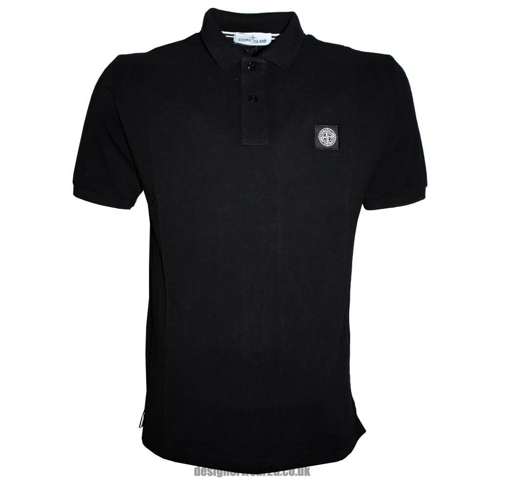 Stone island black cotton pique polo shirt polo shirts for Black cotton polo shirt