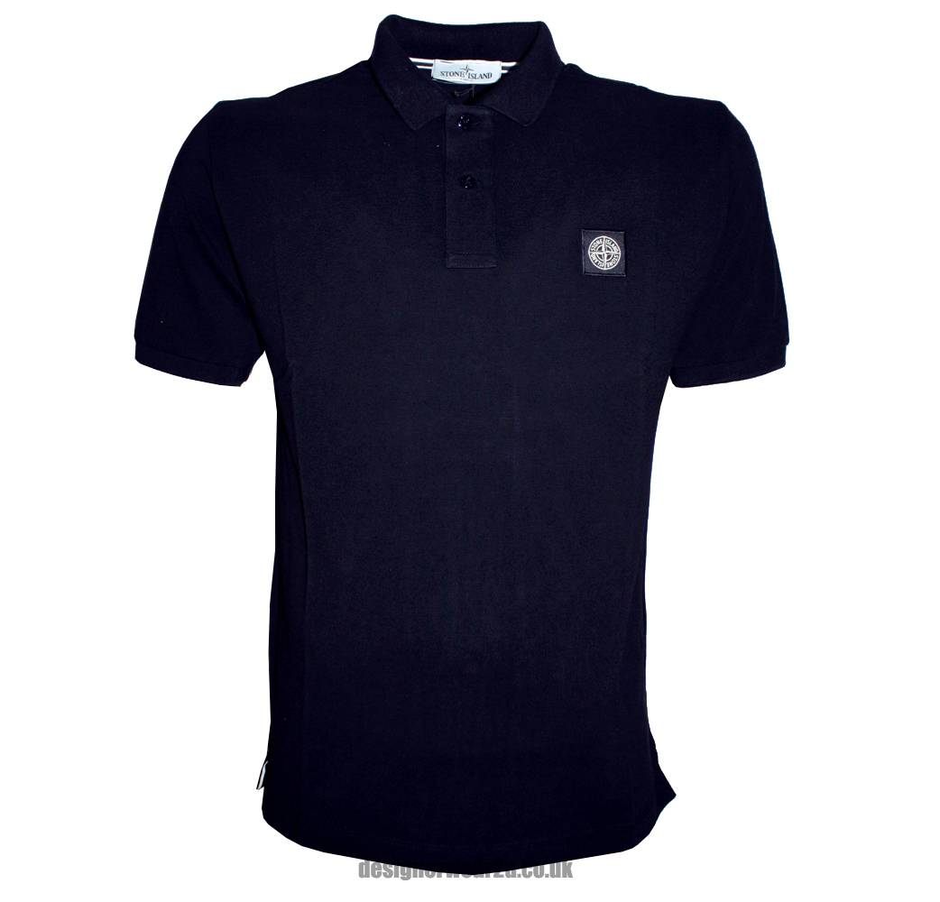 stone island navy cotton pique polo shirt polo shirts from designerwear2u uk. Black Bedroom Furniture Sets. Home Design Ideas