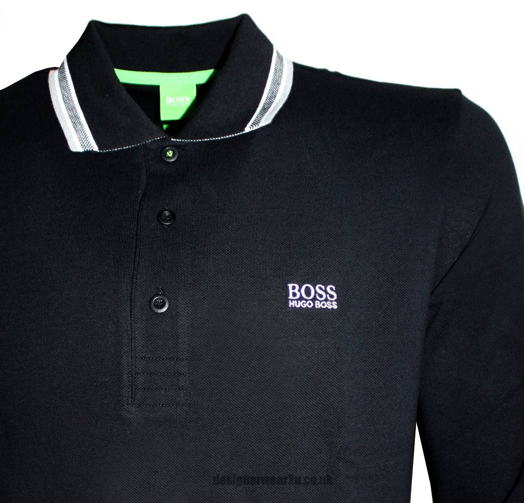 hugo boss green label black long sleeved plosy polo shirt polo shirts from designerwear2u uk. Black Bedroom Furniture Sets. Home Design Ideas