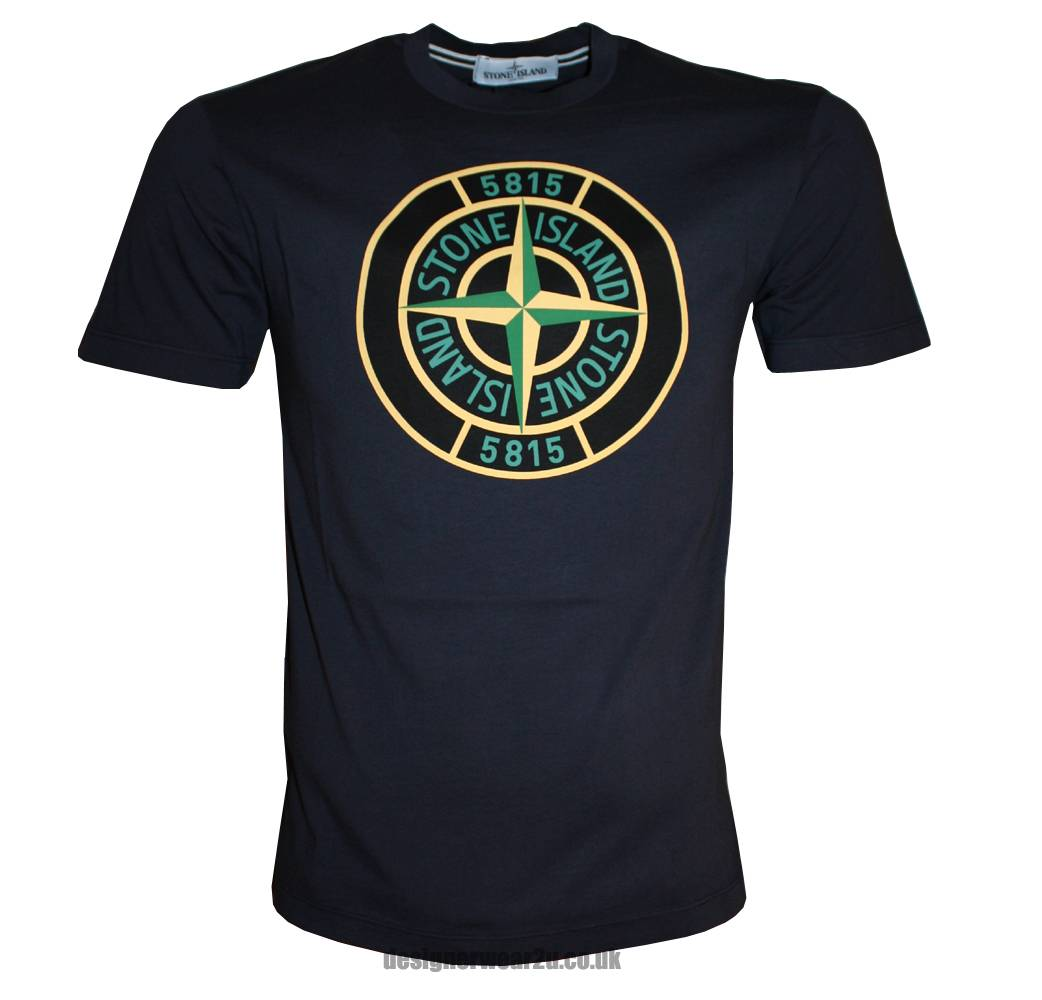 Stone Island Navy T-Shirt With Large Compass Printed Logo - T-Shirts ...