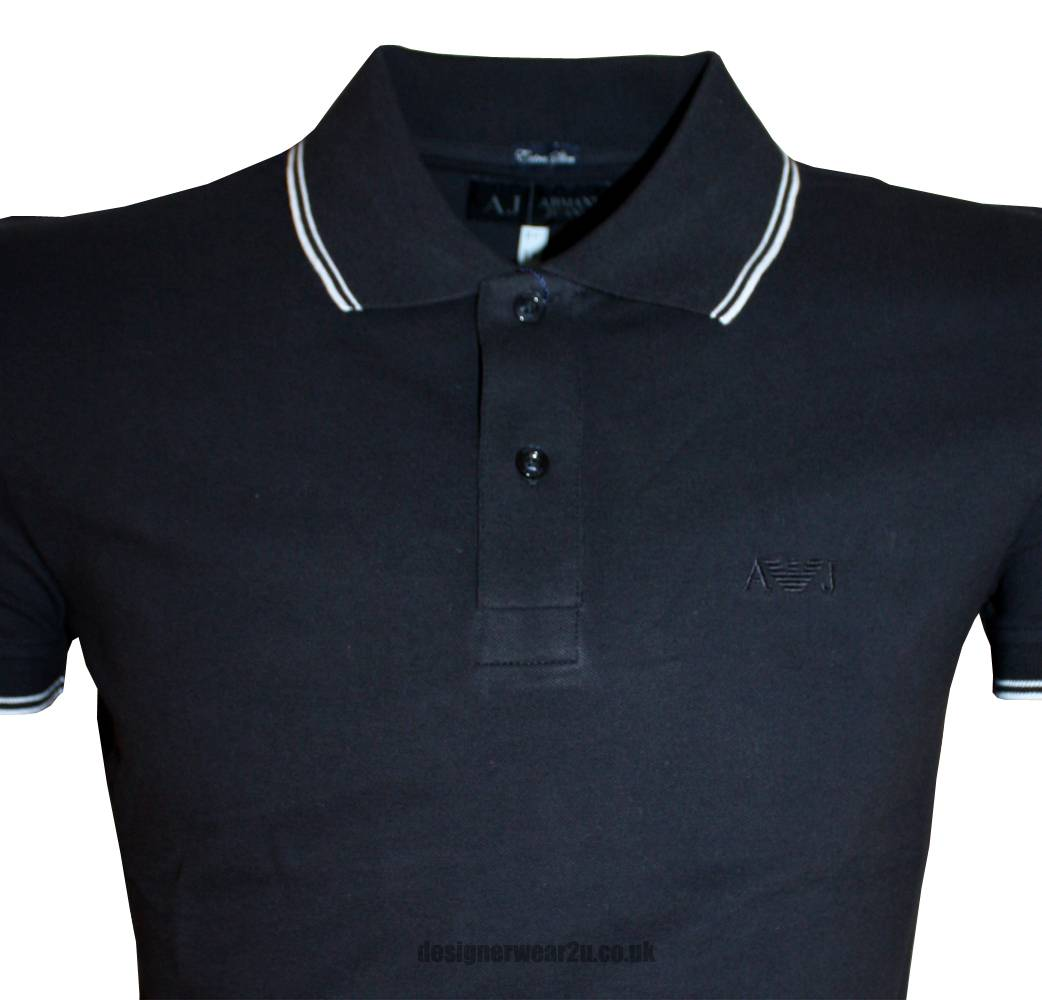 Armani jeans navy extra slim fitting polo shirt polo for Polo shirt and jeans