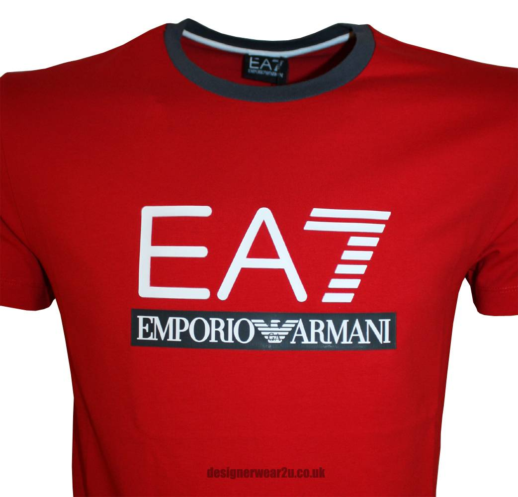 emporio armani red ea7 rubber logo t shirt t shirts from. Black Bedroom Furniture Sets. Home Design Ideas
