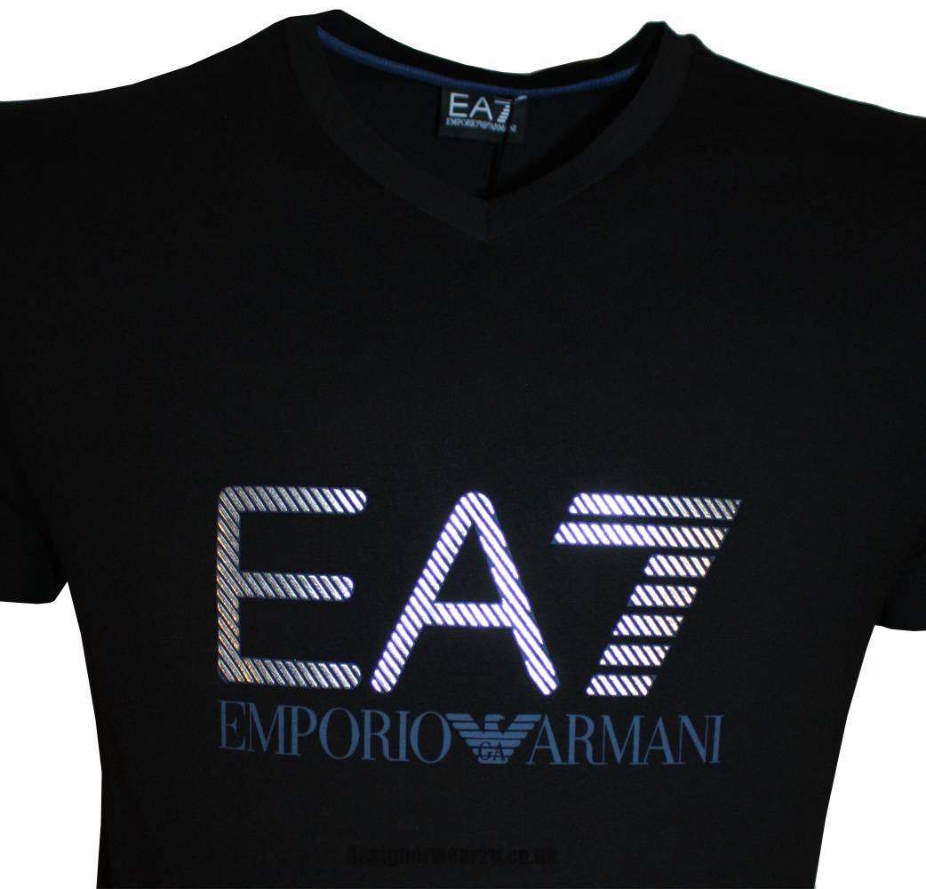ea7 emporio armani black t shirt with printed foil effect. Black Bedroom Furniture Sets. Home Design Ideas
