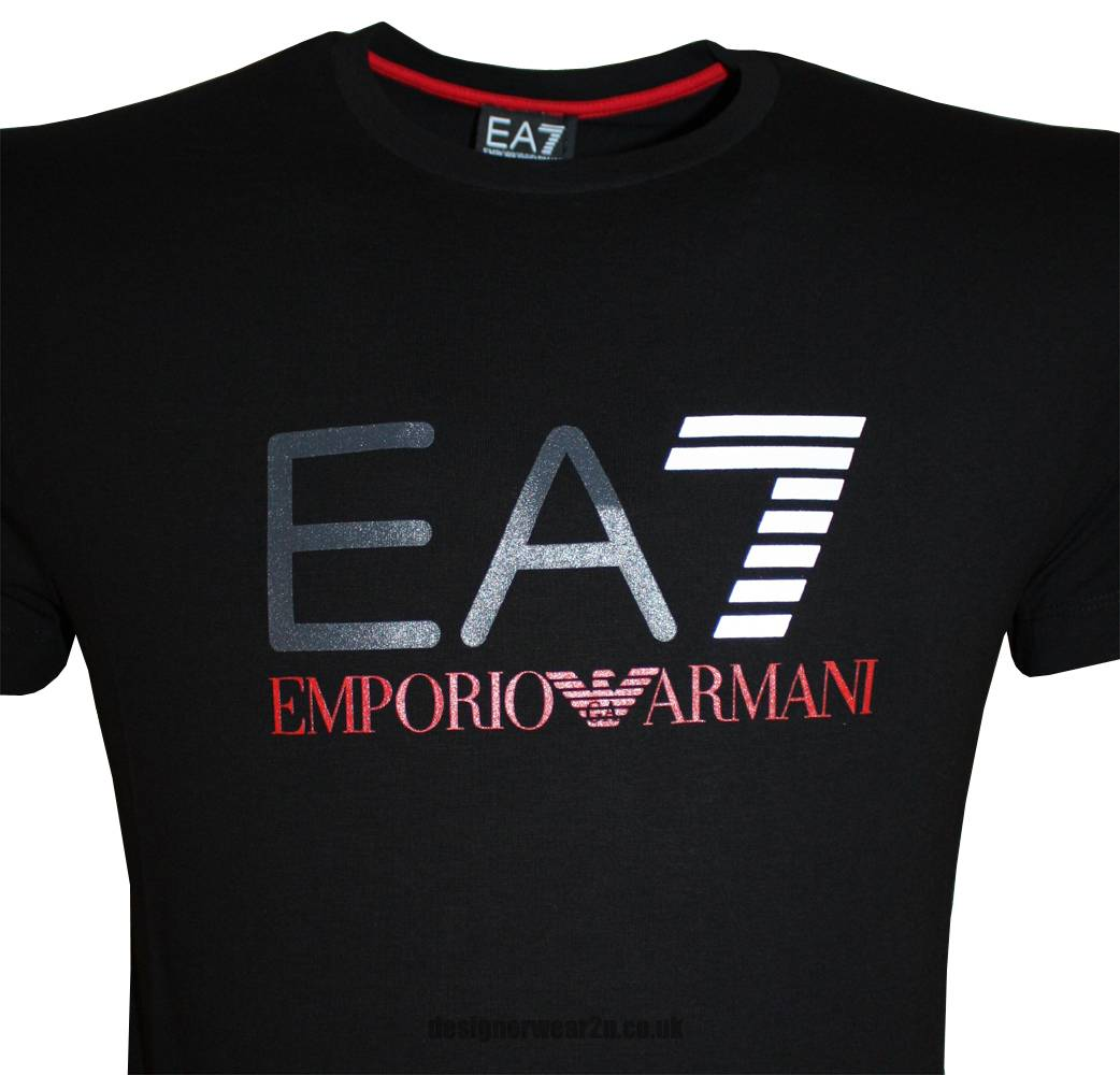emporio armani ea7 black t shirt with printed front logo t shirts from designerwear2u uk. Black Bedroom Furniture Sets. Home Design Ideas