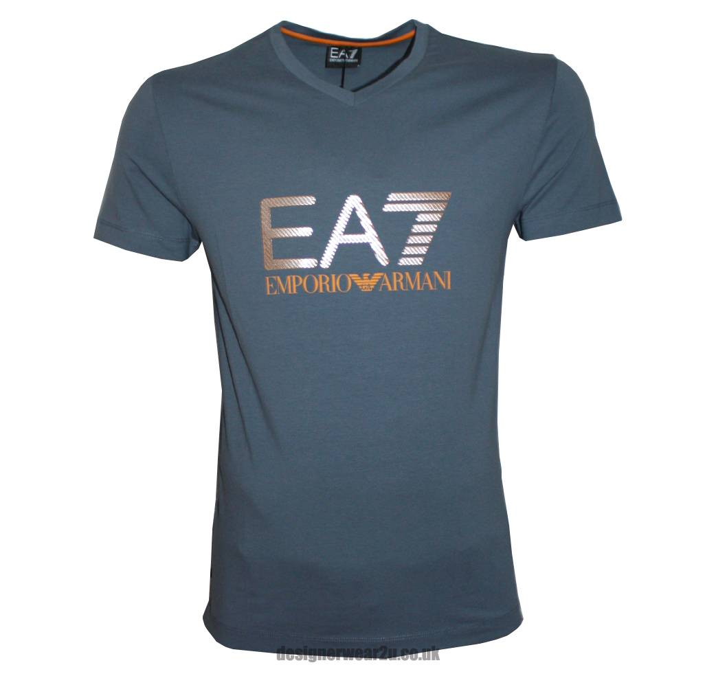 Ea7 Emporio Armani Grey T Shirt With Printed Foil Effect