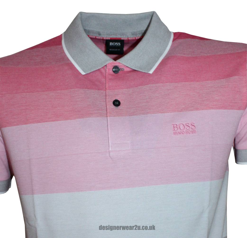 hugo boss pink grey treviso 10 striped polo shirt polo
