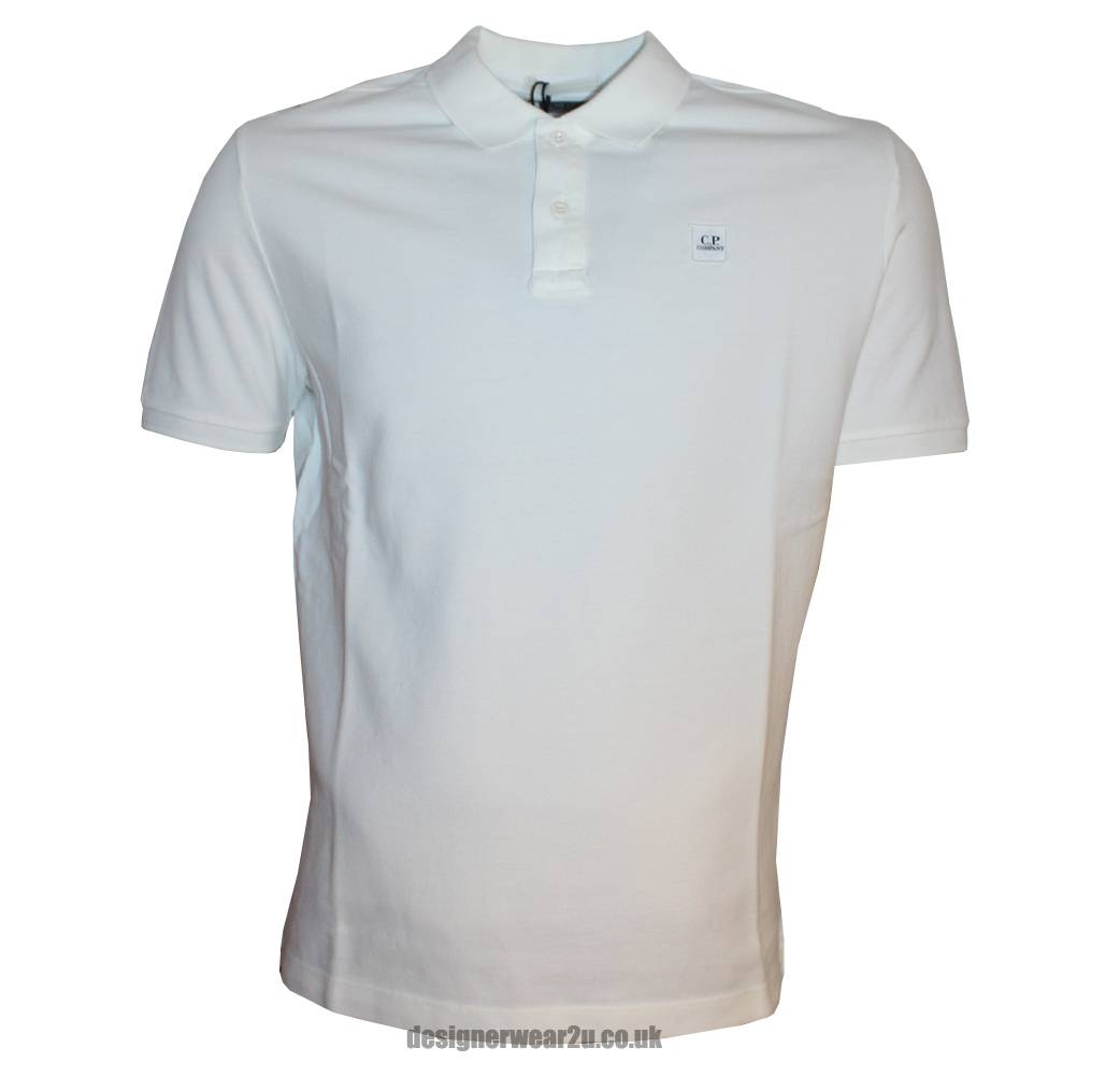 cp company white polo shirt with patch style logo polo