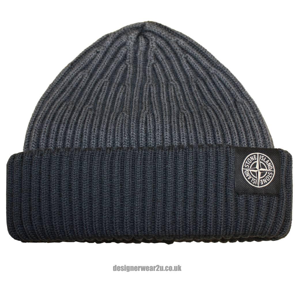 Grey Stone Island Beanie Hat